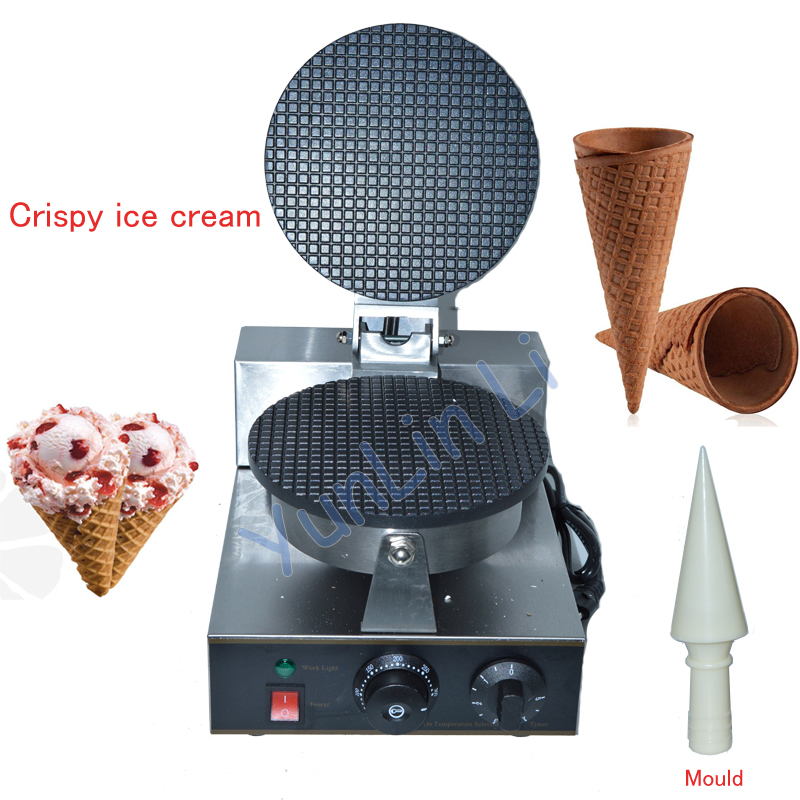 Electric Ice Cream Waffle Cone Maker Nonstick Commercial Ice Cream Cone Machine Egg Roll Maker 110V/220V FY-1A factory price ice cream waffle cone maker round egg roll waffle maker waffle making machine