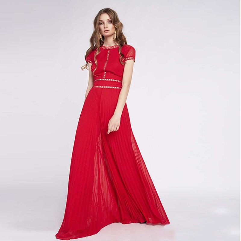 Haute qualité nouvelle mode printemps été 2019 robe de piste femmes col en v dentelle ornée longue robe
