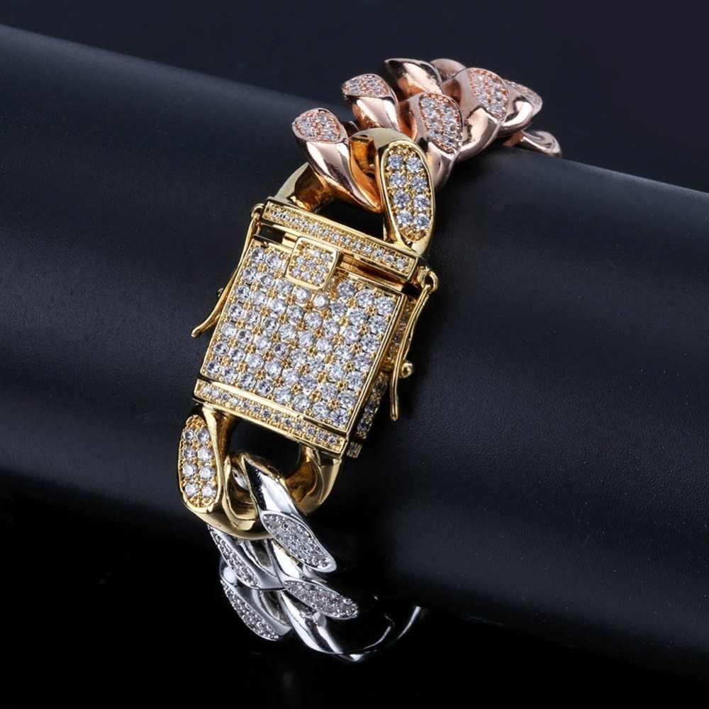 TOPGRILLZ w nowym stylu męskie róża w kolorze różowego złota złoty Tricolor Iced Out Cubic cyrkon kubański Link bransoletki i łańcuszki na rękę Hip Hop biżuteria prezenty