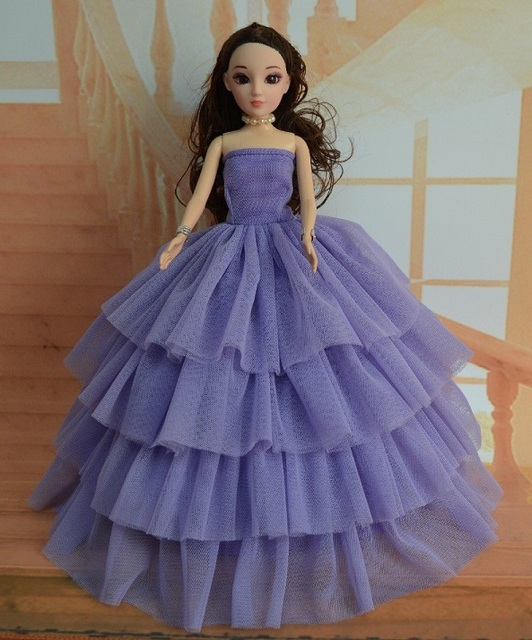 efe5238fba Vetements For Barbie Doll clothes Girls Gift pullip clothing Princess party  dress Silver wedding 1/6 Doll Accessories