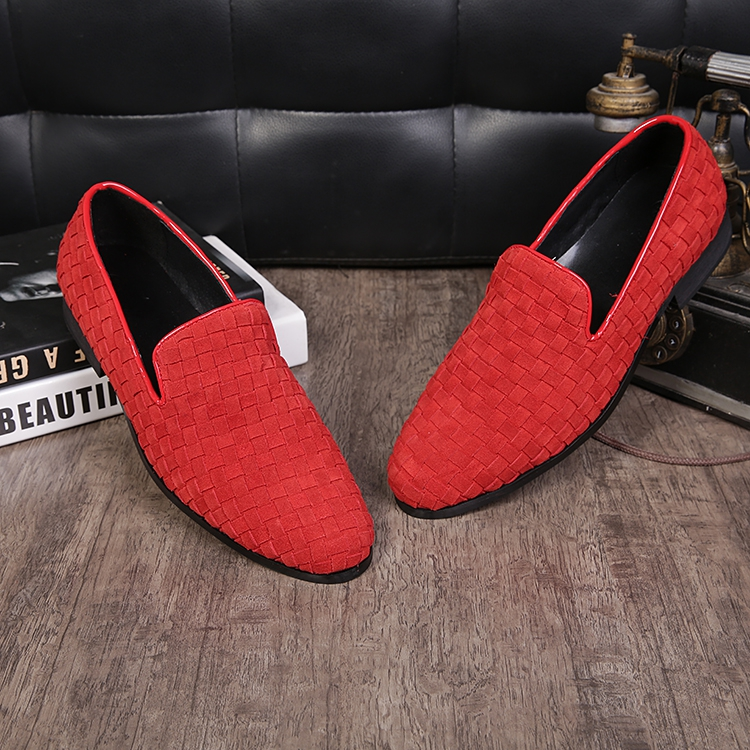 2018 new coming round toe slip on real suede leather loafers red/black breathable woven wedding shoes men large size EU46 2018 new coming round toe slip on real suede leather loafers red/black breathable woven wedding shoes men large size EU46