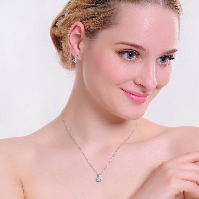 Platinum Plated Bridal Jewelry Set with Micro Inlay Cubic Zircon Pendant and Earrings