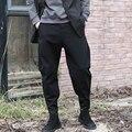 Mens Atravessar harem Pants Soltas Casuais Calças de Pernas Magras Nakali Chineses Estilo Japonês de Algodão Preto Básico Outono Inverno M1109