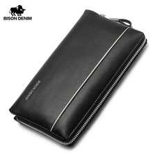 BISON DENIM Brand 2017 Big Capacity Mens Clutch Wrist Strap Purse Genuine Leather Wallet Cowhide Bag men Zipper Open Bag N2292-1