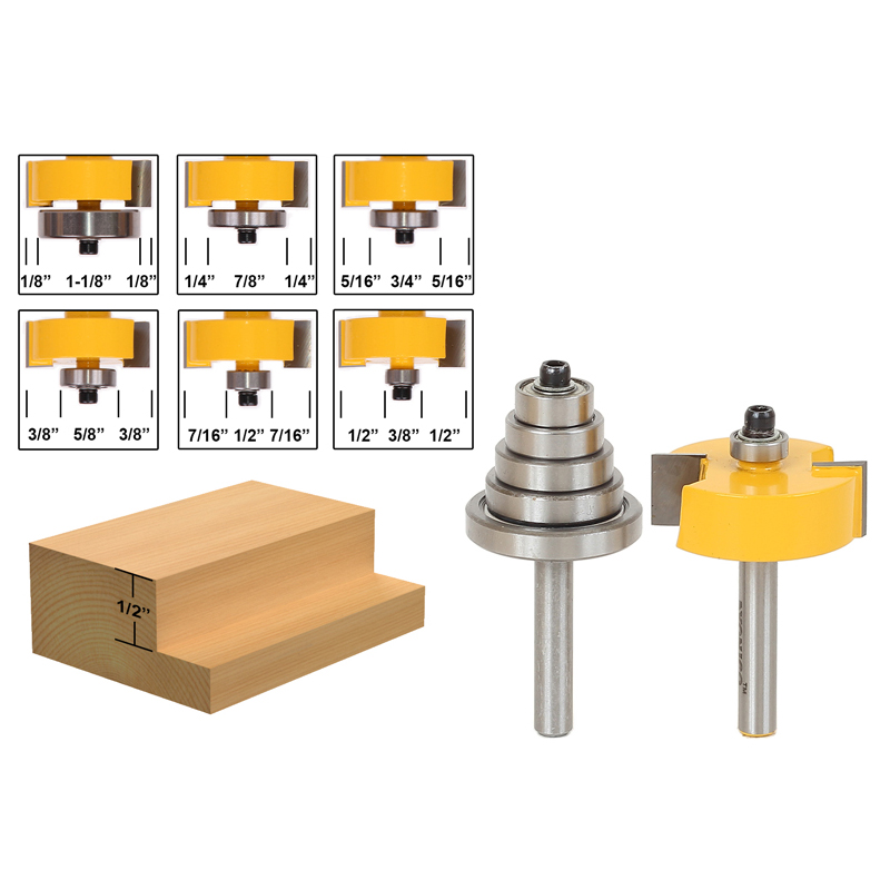 1lots Rabbet Router Bit with 6 Bearings Set -1/2