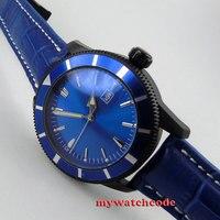 46mm azul dial estéril data janela pvd caso movimento automático masculino watch21