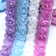 1yard/lot 4.5cm 3D Flower Embroidery Lace Fabric Trim Ribbons DIY Sewing Garment Handmade Materials Accessories