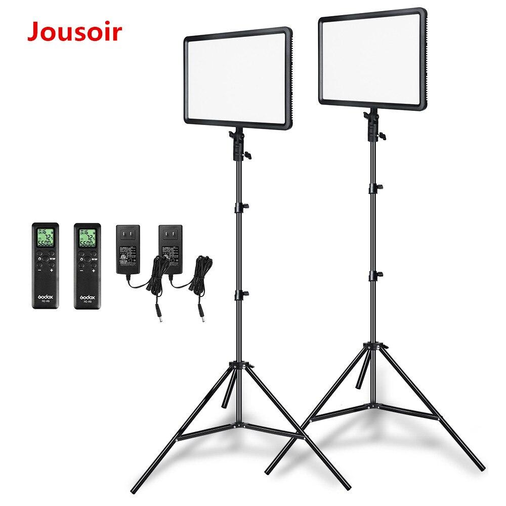 Godox 2 pcs LEDP260C Ultra-mince 30 w 3300-5600 k LED Vidéo Panneau Lumineux Lampe avec 2 pcs 2 m Lumière Stand pour Vidéo Studio Lumières CD50