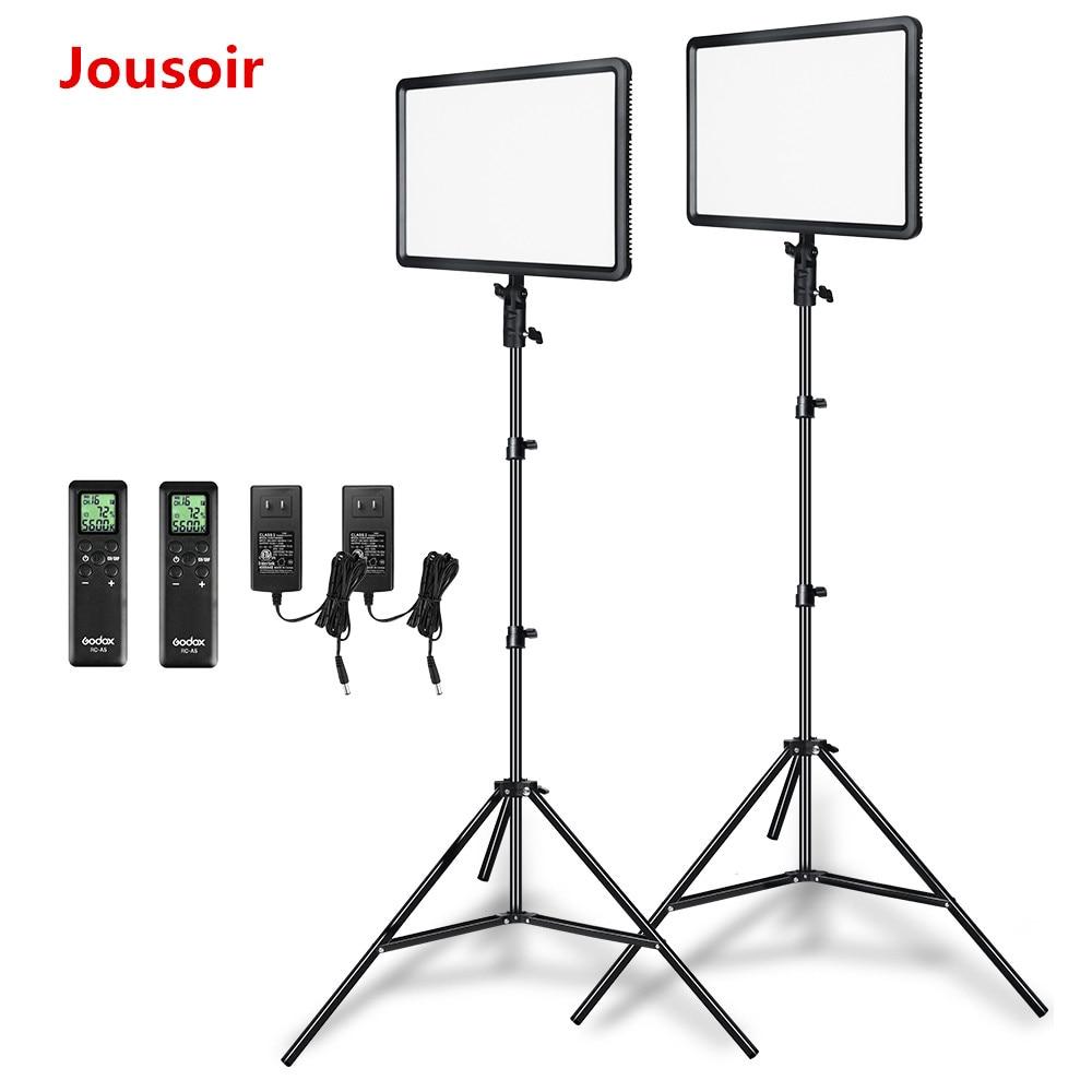 Godox 2 piezas LEDP260C ultrafino 30 W 3300-5600 K LED Video Light Panel lámpara con 2 piezas 2 M luz Stand para Video Studio luces CD50