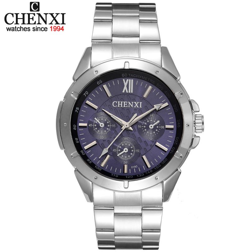 Prix pour Vente montres à quartz hommes CHENXI marque festina Trois cercles décoration En Acier Inoxydable de Feuille homme montre-bracelet CX-019C horloge mâle