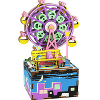 Robotime Wood Music Box 3D Puzzle Toy Rotating Ferris Wheel Assembly Model Building Kits Wooden Decoration Creative Kids Toys