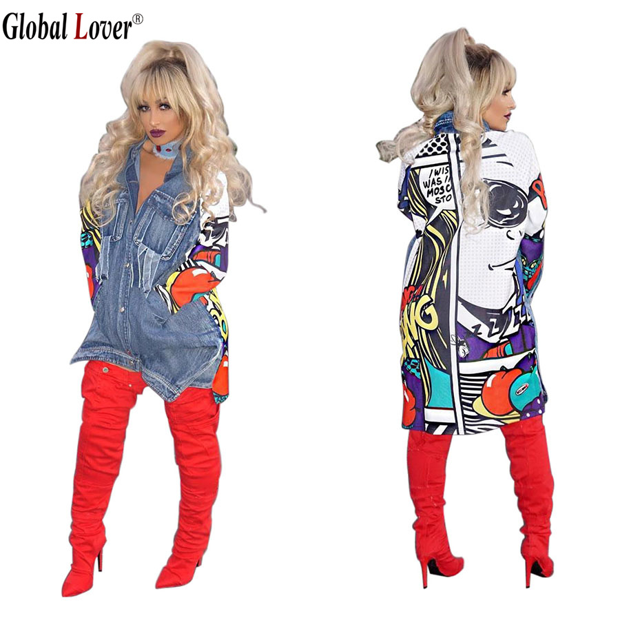 Global Lover Vintage Style Fashion Long Jeans Autumn Jacket Women Oversized Spring Casual
