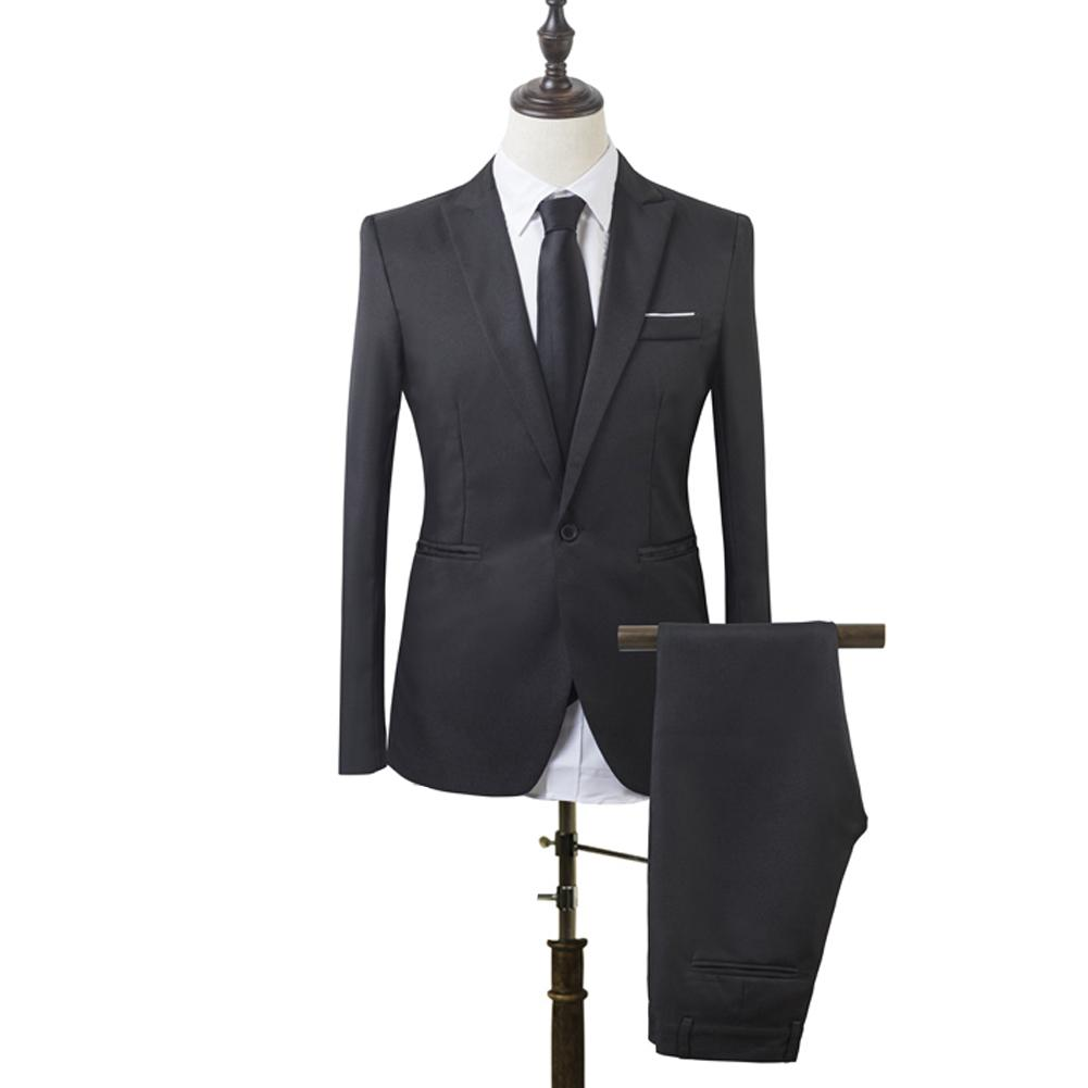 0b84177774a 2019 Fishion Men Slim Fit Business Leisure One Button Formal Two Piece Suit  for Groom Wedding-in Suits from Men's Clothing