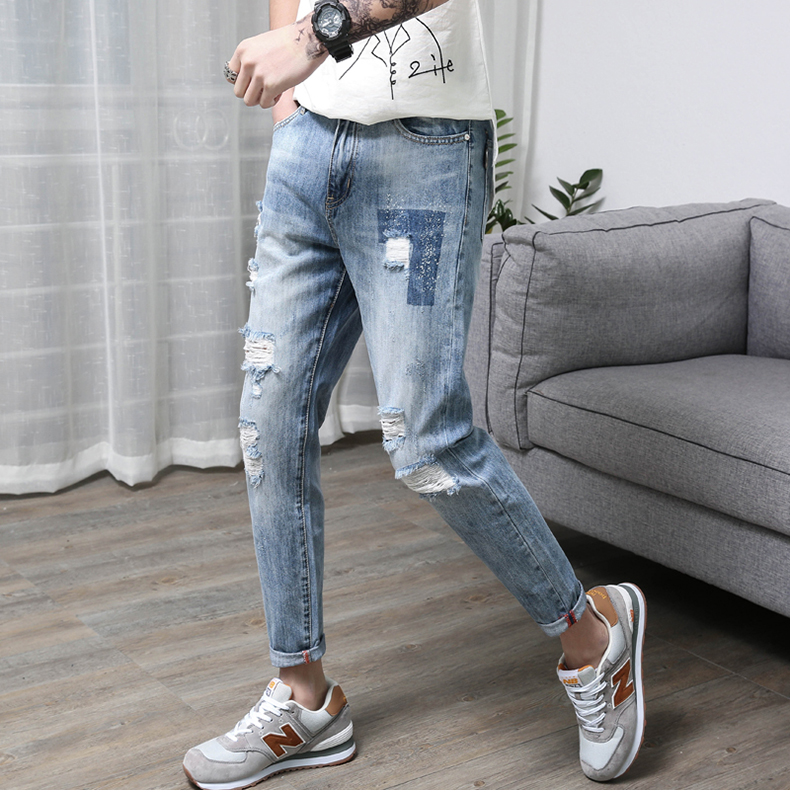 Hip Hop 2018 Ripped Jeans for Men Patchwork Hollow Out Printed Beggar Cropped Pants Cowboys Japan