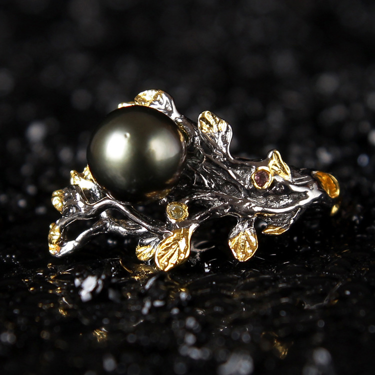 special for high-end hand ornaments 925 Silver Natural Black Pearl Ring Italy retro silver flower ornaments wholesale