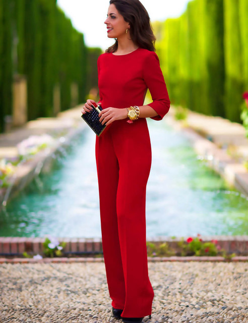 4a7dd21a8df Xl Red Black Purple Women s Sexy Ol Solid Color Bodycon Jumpsuit Backless  Three Quarter