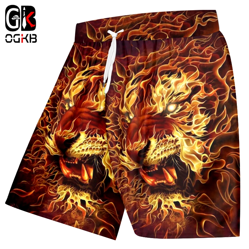 OGKB Beach Shorts Man New Loose Short Trousers 3D Printing Tiger And Flame Lion And Crayfish Hip Hop Oversized Men's Clothing