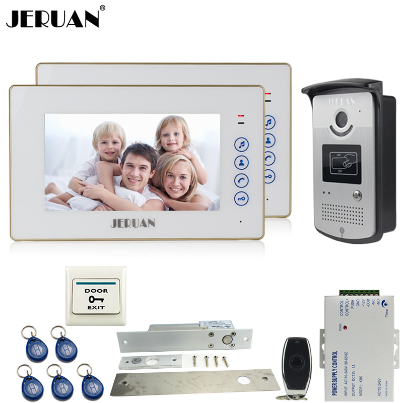 JERUAN 7 inch touch key video door phone intercom system kit 2 monitor 700TVL RFID Access IR Night Vision COMS Camera In stock  jeruan new 7 inch touch key color video intercom entry door phone system rfid access doorbell camera 1 monitor in stock