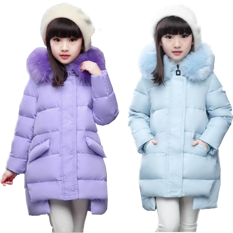 Top Quality Fashion Girls Winter Jacket Child Down Coat Medium-long Thickening Fur Collar Kids Winter Down Jackets Outerwear new winter women long style down cotton coat fashion hooded big fur collar casual costume plus size elegant outerwear okxgnz 818