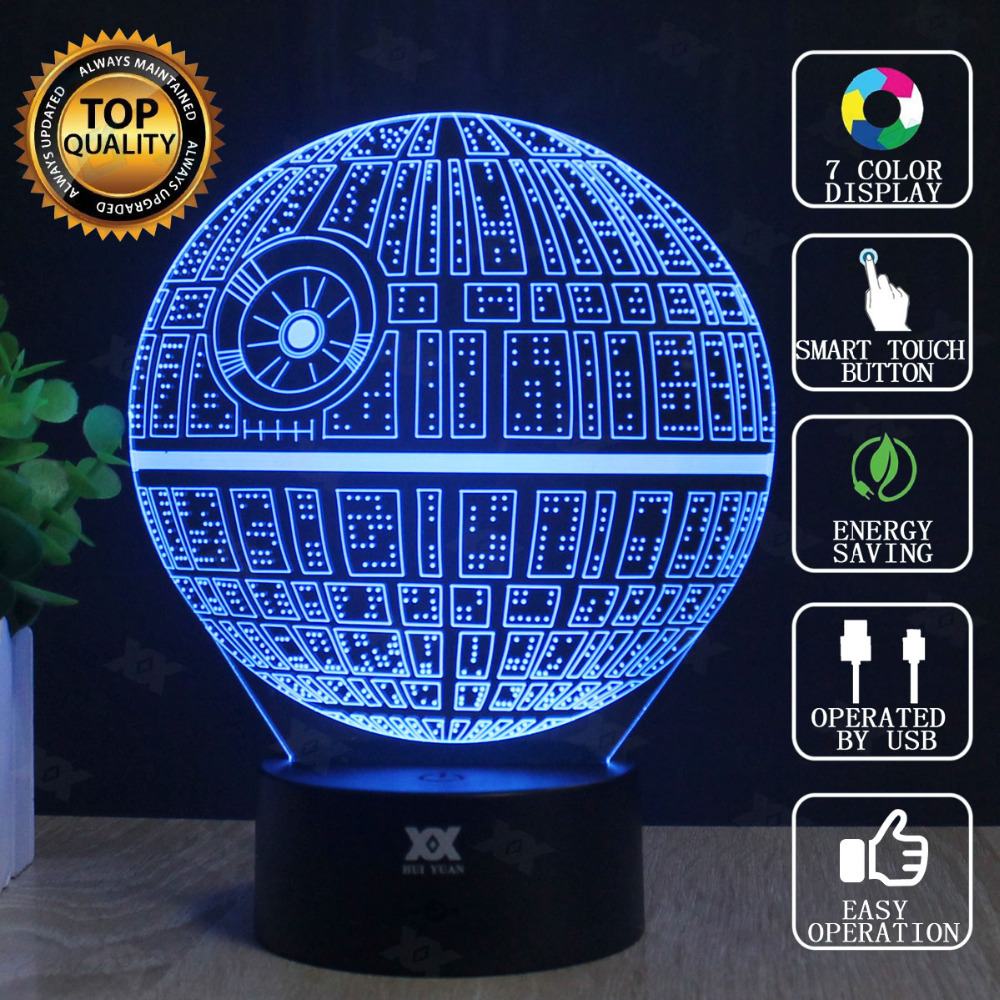 Death Star 3D Lampu Star Wars BB-8 Lampu LED Novelty Night Lights USB - Lampu malam