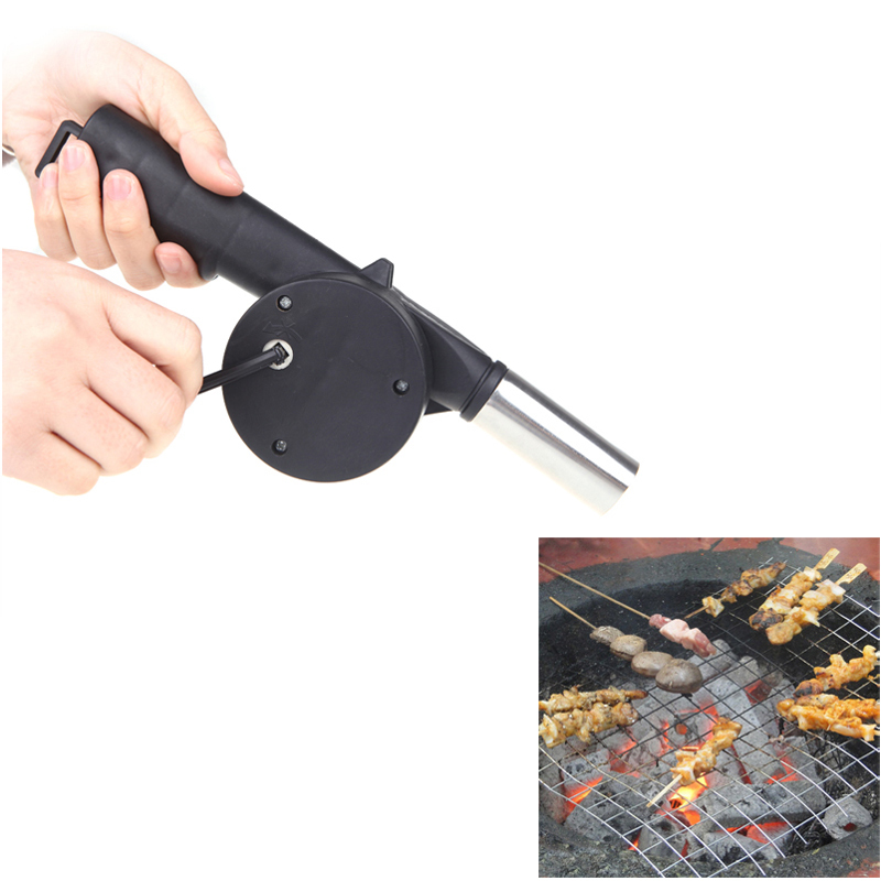 New Outdoor Camping BBQ Fan Air Blower Hand Crank Powered for Picnic Barbecue Fire