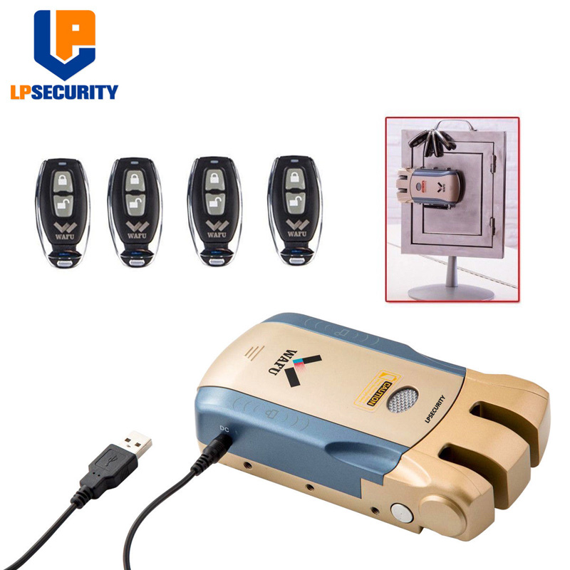 LPSECURITY télécommande sans fil serrure électronique Invisible sans clé serrure de porte d'entrée avec 4 télécommandes