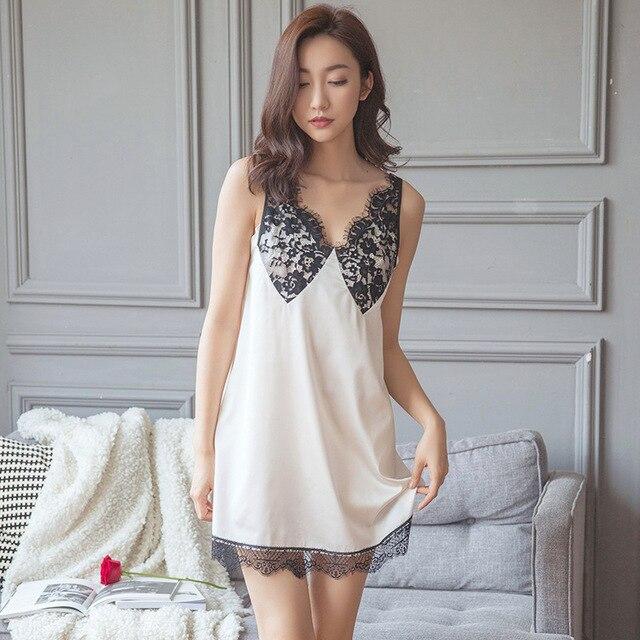 1e216bf57 2017 Nova Lingerie Sexy Branco Preto do Verão Rendas Camisola Linda  Princesa Camisola de Seda Sem