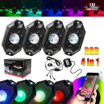 CO LIGHT 4PCS 9W RGB LED Rock Light Kit Underbody Glow Trail Rig Lamp for 4x4 Truck ATV Offroad Boat Car-styling