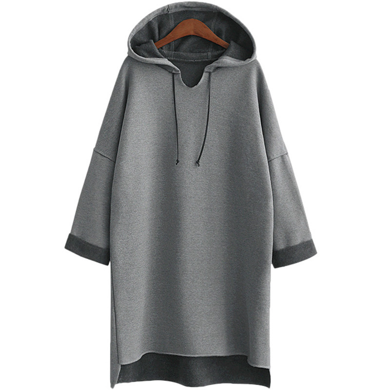 2017 Autumn Winter Women Long Hoodies Hoody Plus Size 3Xl 4Xl XXXl Plain Grey Fleece Warm