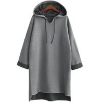 2017 Осень Зима для женщин длинные толстовки с капюшоном плюс размеры 3Xl 4Xl XXXl плотная серый флис теплый женский свитер