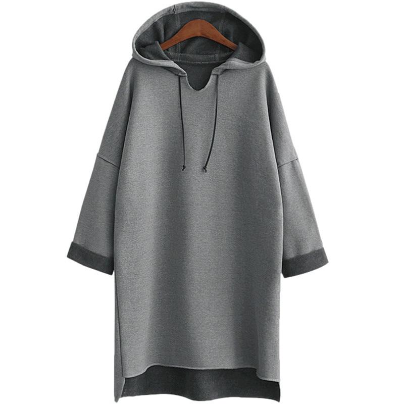 2017 осень зима Для женщин длинные толстовки с капюшоном плюс Размеры 3Xl 4Xl XXXl плотная серый флис теплый женский свитер с капюшоном
