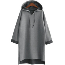 Female Hoodie Sweatshirt Grey Fleece Plus-Size Women Warm Plain Long 3xl 4xl-Xxxl