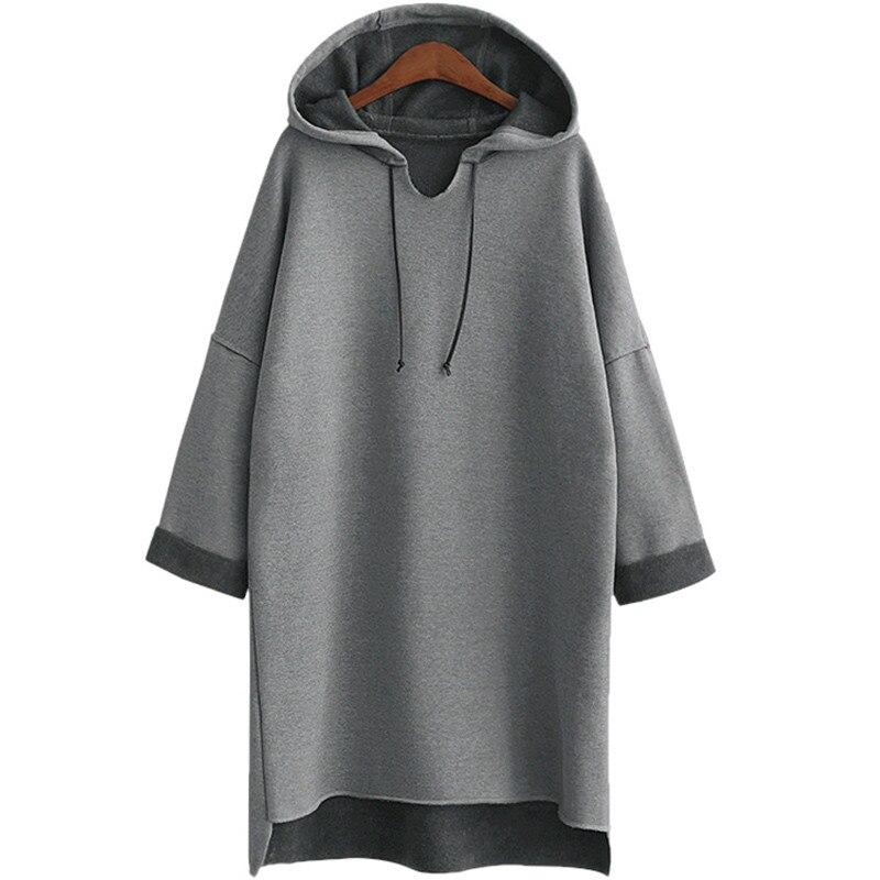 2017 automne hiver femmes Long Hoodies à capuche grande taille 3Xl 4Xl XXXl plaine gris polaire chaud femme sweat à capuche