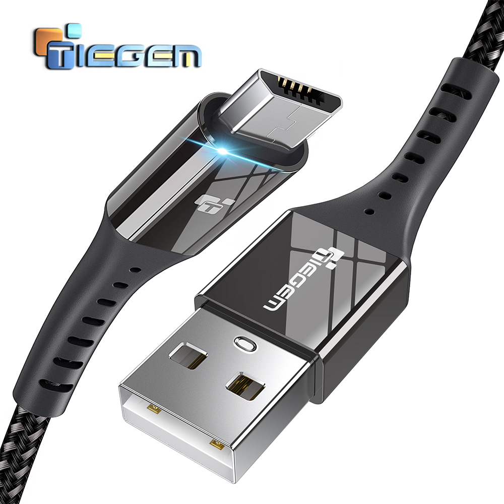 TIEGEM Micro USB Cable 2 4A Nylon Fast Charge USB Data Cable for Samsung Xiaomi Android