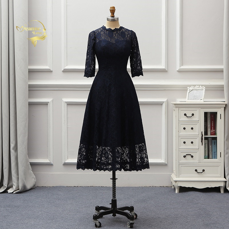 3 4 Length Vintage Wedding Dresses: 3/4 Sleeves Mother Brides Dresses Navy Blue Lace Lady