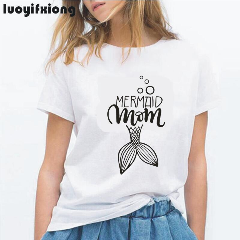 MERMAID MOMGIRL Letter Print Women Tshirt Mom Tee Casual Tee Shirt Femme Funny Pretty Garphic T Shirt Women Tops Camiseta Mujer