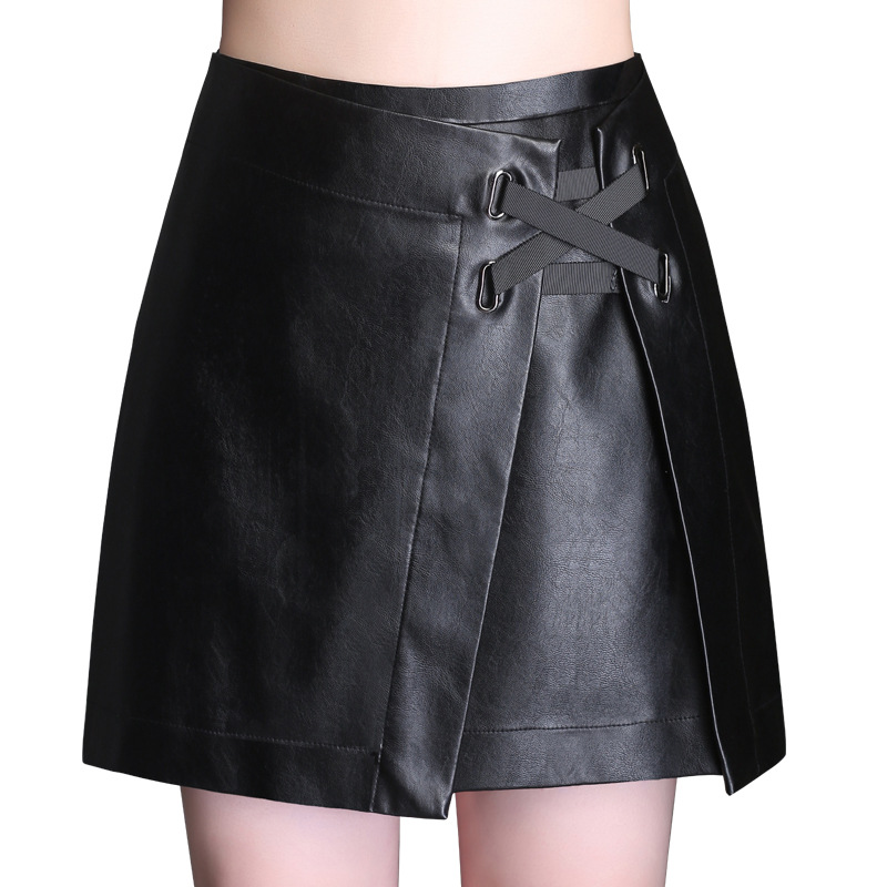 2019 Autumn and Winter new PU leather short skirt female Slim elegant wild A-line high waist zipper skirt with lining plus size