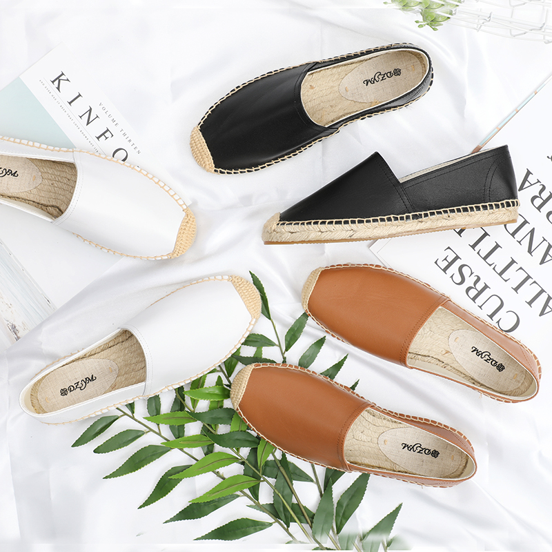 DZYM new spring summer Genuine leather Women fashion Flat espadrilles Lady Slip on casual flat shoes