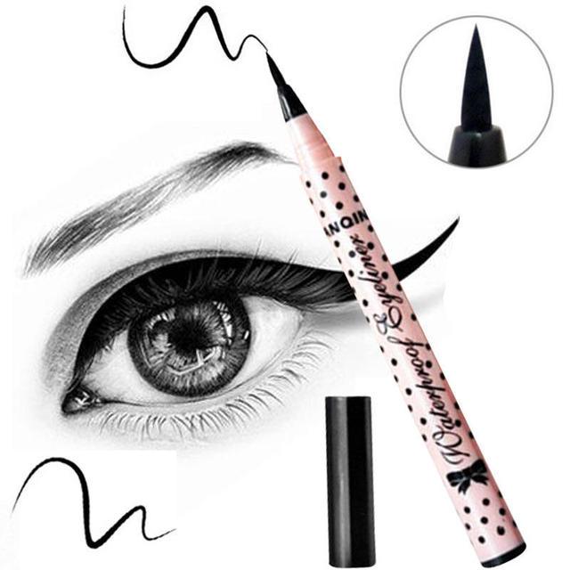 Delineador de ojos líquido lápiz de maquillaje Sexy mujeres negro impermeable Mini delineador de ojos de larga duración lápiz cosmético delineador de ojos Natural