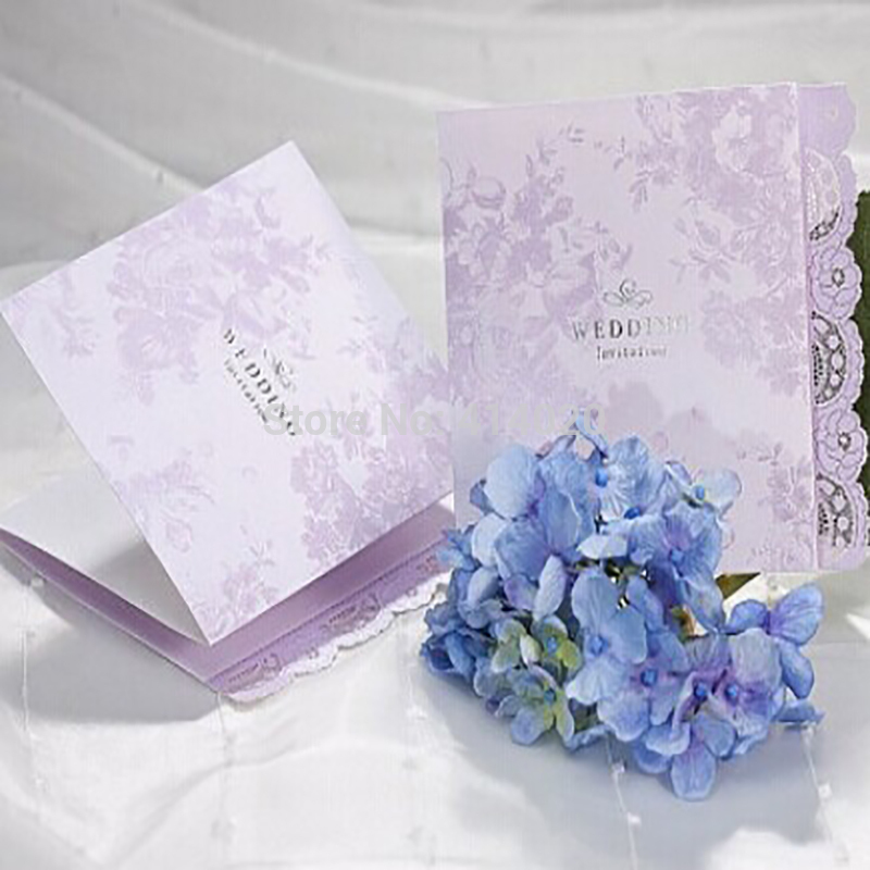 100Pcs /Lot Customized Elegance Light Purple Wedding