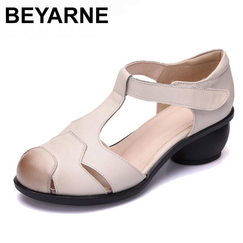 BEYARNE summer sandals female handmade genuine leather women casual comfortable woman shoes sandals women summer shoes