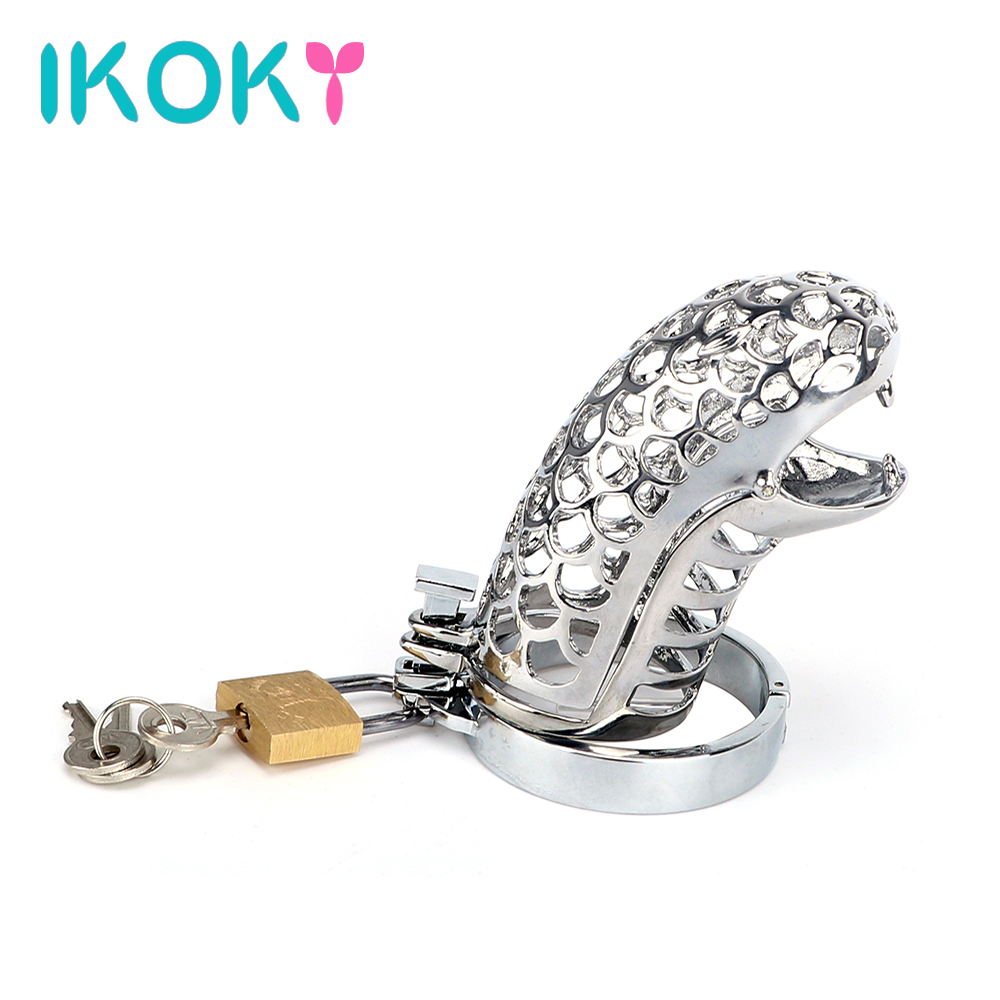 IKOKY Penis Rings Snake Totem Sex Toys for Men Male Cock Rings Cock Cage Male Chastity Device Chastity Lock Belt 2015 new birdlocked mini silicone cb6000s male chastity cb device chastity belt men chastity device lock rings sex toys