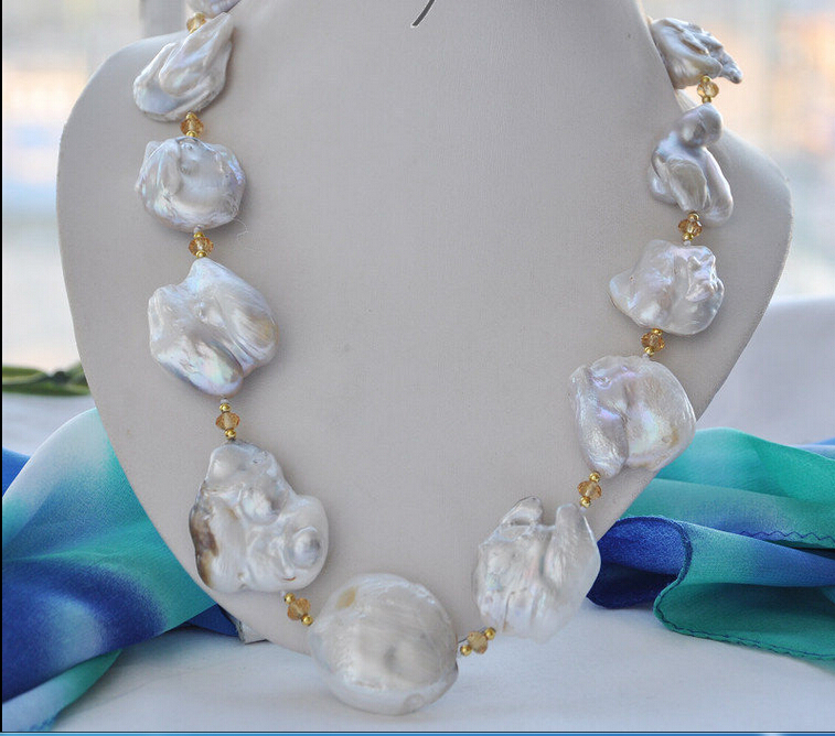 Free shipping@@@@@ Big 40mm white baroque keshi reborn pearl necklace 23inch цена и фото