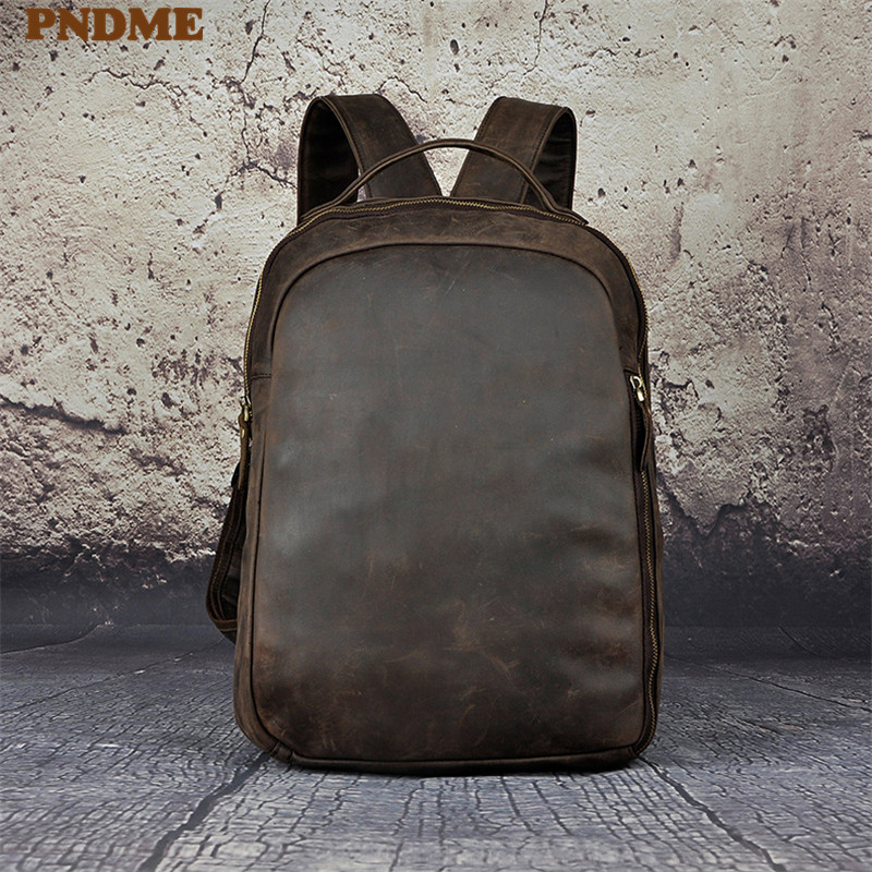 PNDME crazy horse leather men 39 s backpack simple retro outdoor waterproof travel large capacity genuine leather laptop rucksack in Backpacks from Luggage amp Bags