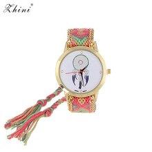 Relojes ZHINI Correa tejida a mano a rayas Relojes de muñeca con patrón de viento Vintage decorado a mano con correa de diseño de tela Relojes de mujer