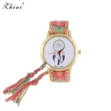 ZHINI Uhren Streifen Handwoven Strap Handgelenk Uhren Vintage Wind Muster Verziert Hand woven Strap Design Stoff Damen Uhren