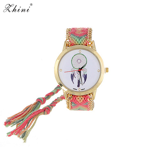 Image 1 - ZHINI zegarki pasek ręcznie tkany pasek na rękę Relojes Vintage wiatr wzór ozdobiony ręcznie tkany pasek projekt tkaniny damskie zegarki