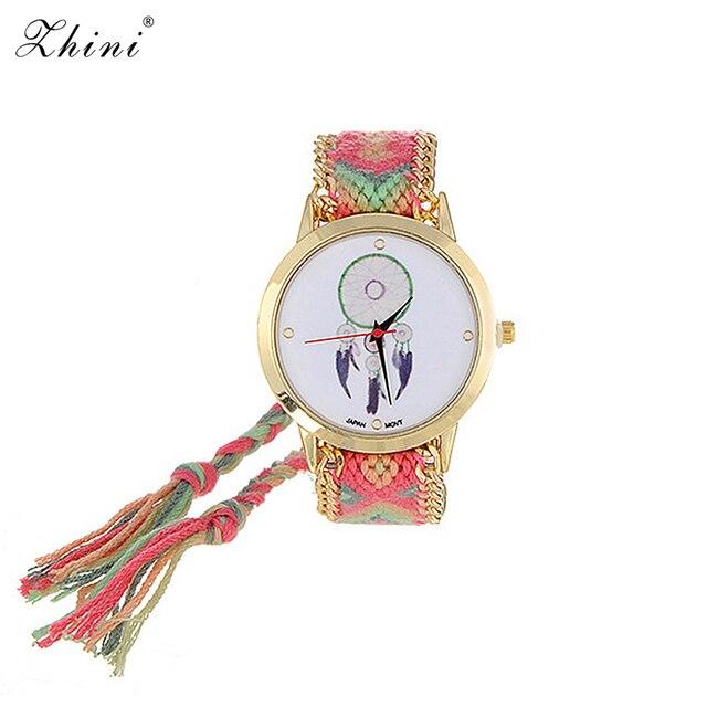 ZHINI zegarki pasek ręcznie tkany pasek na rękę Relojes Vintage wiatr wzór ozdobiony ręcznie tkany pasek projekt tkaniny damskie zegarki