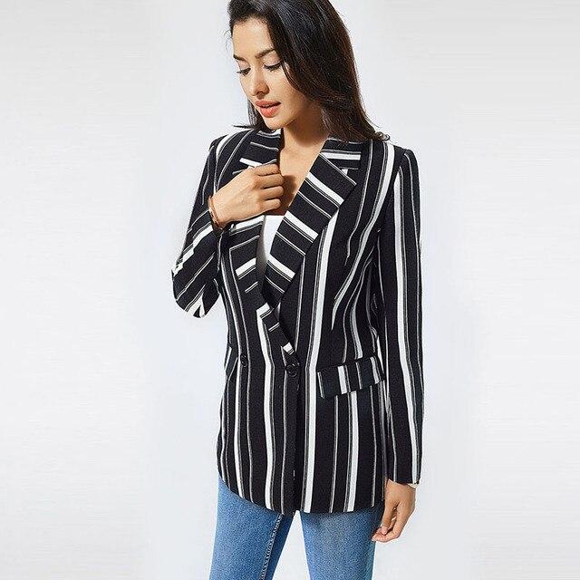 chifave Blazer Women 2018 Striped Jackets Casual Double Breasted Black Long Blazer Women's Spring Autumn Jacket Plus Sizes 5XL  3