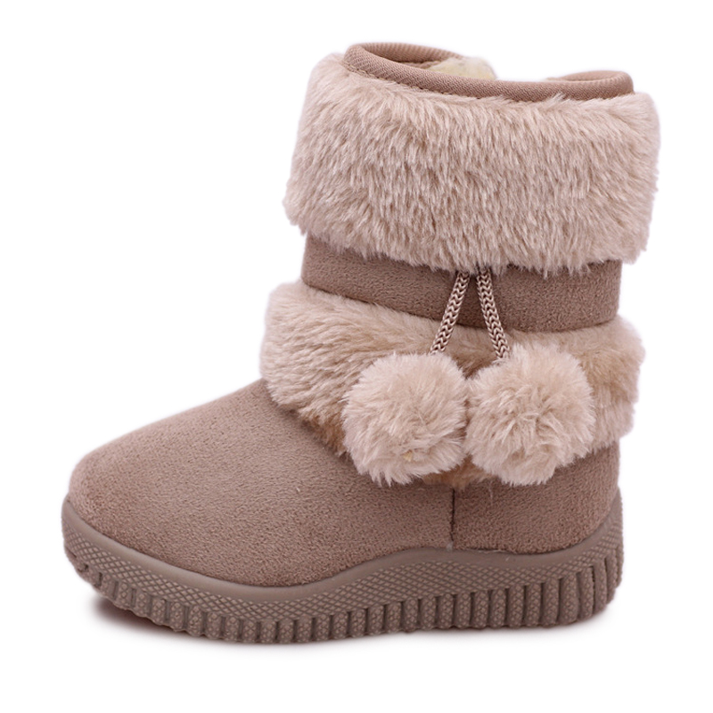 Winter Girls Boots Warm Cotton Snow Boots For Kids Children Sweet Boots With Fur Ball Hair Ball Pendant Cute Candy Colors